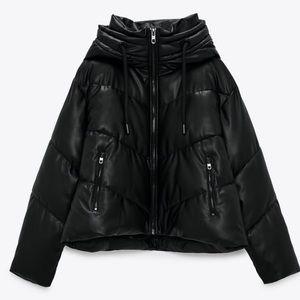 Zara Faux Black Leather Puffer Jacket
